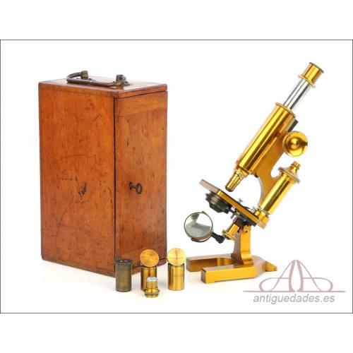 Antiguo Microscopio Compuesto R & J Beck. Inglaterra, Circa 1890