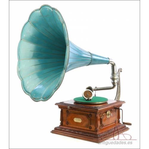 Antiguo Gramófono Francés Pathephone nº 12. Con 2 Reproductores. Francia, 1910-1915