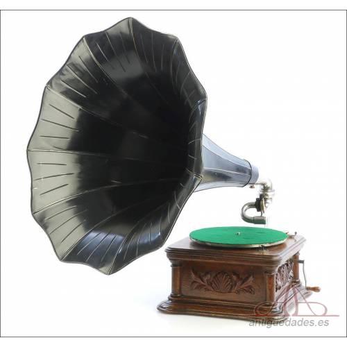 Antiguo Gramófono La Voz de Su Amo Modelo Cockshell Monarch. Francia 1910-1915