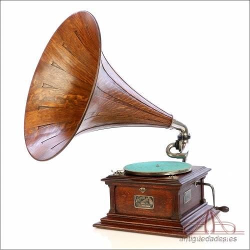 Maravilloso Gramófono Antiguo Victor III Superior. Trompa Madera. USA, C. 1912