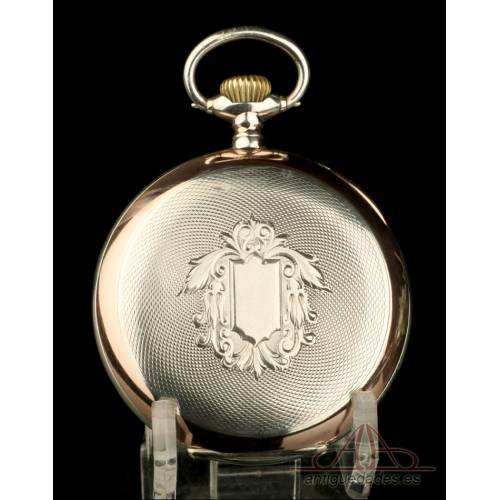 Precioso Reloj de Bolsillo Omega Antiguo, de Plata Maciza. Suiza, Circa 1920