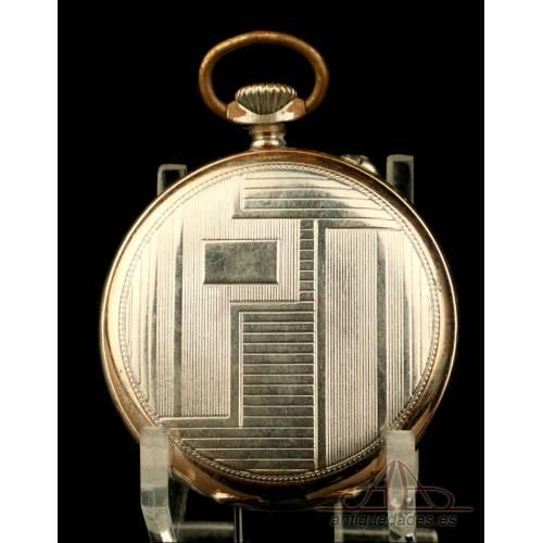 Precioso Reloj de Bolsillo Antiguo Junghans, de Estilo Art Déco. Alemania, Circa 1920