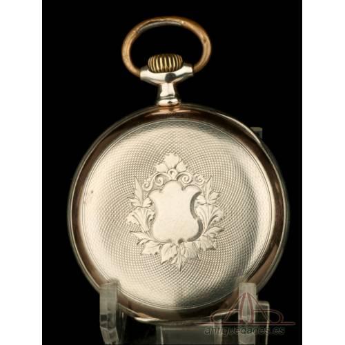 Antiguo Reloj de Bolsillo Zenith en Plata Maciza. Suiza, Circa 1900