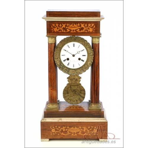 Antiguo Reloj de Péndulo Francés Tipo Pórtico. Francia, Circa 1900