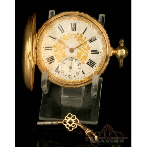 Antiguo Reloj de Bolsillo Ingles French Royal Exchange en Oro 18K. Inglaterra, 1842