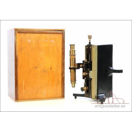 Antiguo Microscopio Tipo Vernier, Philip Harris. Inglaterra, Circa 1920