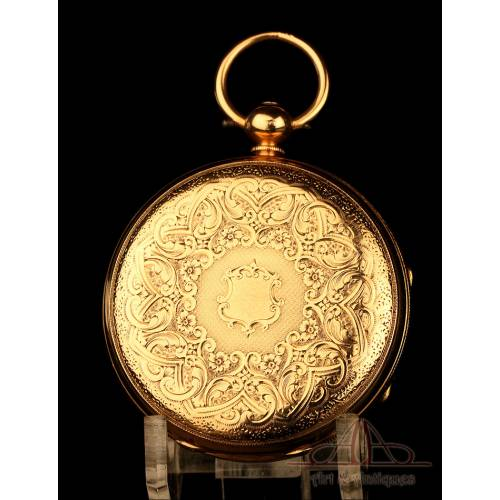 Extraordinario Reloj de Bolsillo Antiguo en Oro de 18K. William Bent. Londres, 1875