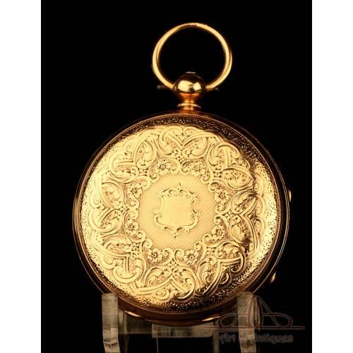 Extraordinario Reloj de Bolsillo Antiguo en Oro de 18K. William Bent. Londres, 1875