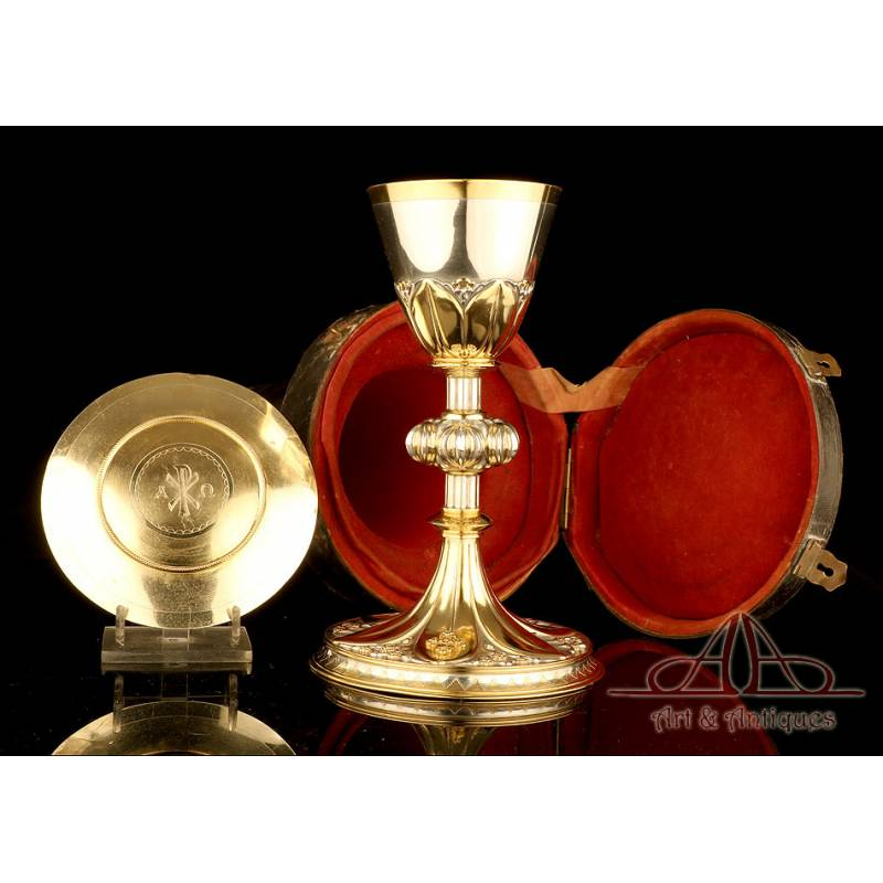 Histórico Cáliz Antiguo de Plata Dorada. Regalo de Napoleón III. Francia, Siglo XIX