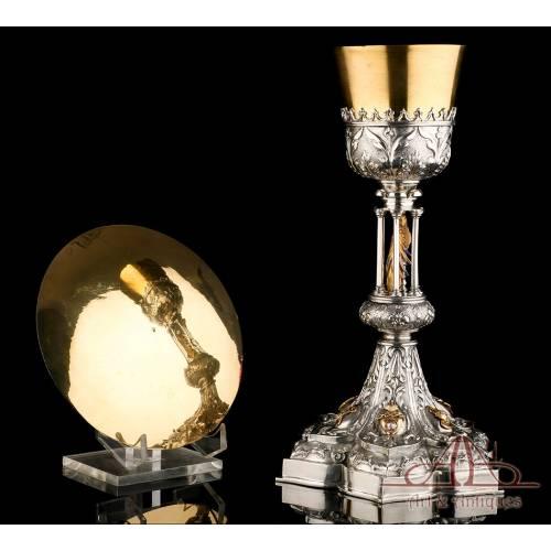 Extraordinario Cáliz Antiguo en Plata, Oro y Plata Dorada. Diamante. España, 1900