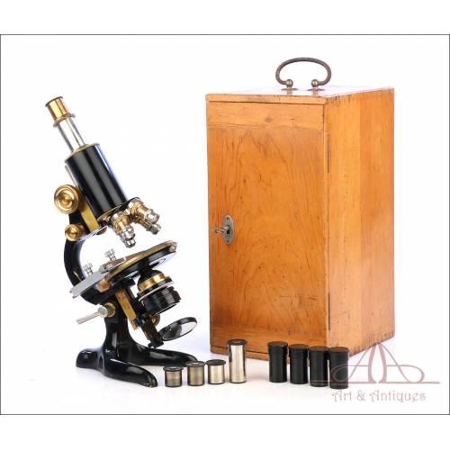 Extraordinario Microscopio Antiguo Profesional Otto Seibert. Alemania, Circa 1920