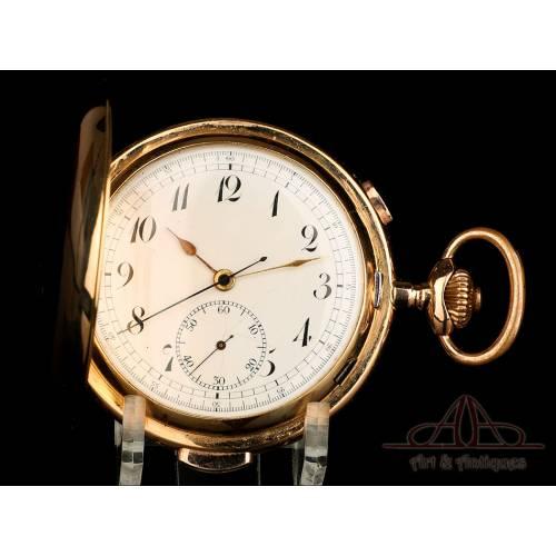 Antiguo Reloj de Bolsillo de Oro 18K con Sonería a Minutos. Suiza, Circa 1900