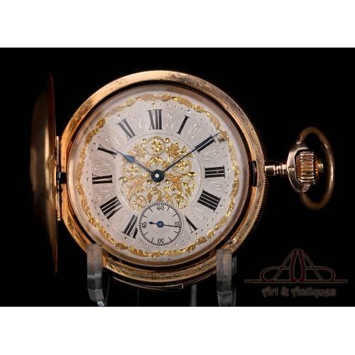 Fantástico Reloj de Bolsillo Antiguo con Sonería de Cuartos. Oro 18K. Suiza, 1900