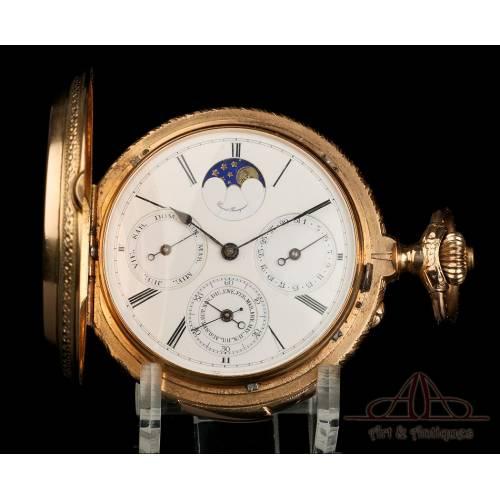 Reloj de Bolsillo Antiguo Girard Perregaux Oro 18K. Fases Lunares. Sonería. Suiza, 1915