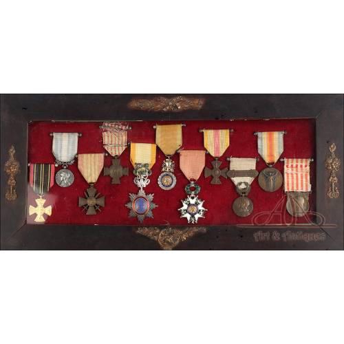 Conjunto de Medallas de un Combatiente Francés en la 1ª y la 2ª GM