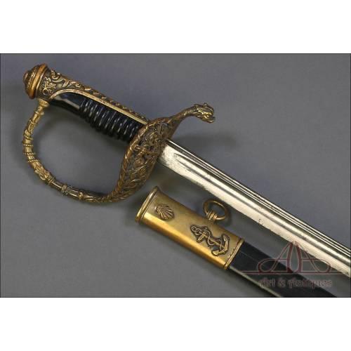 Antigua Espada para Oficial de Marina Francés, Mod. 1837. Francia, Siglo XIX