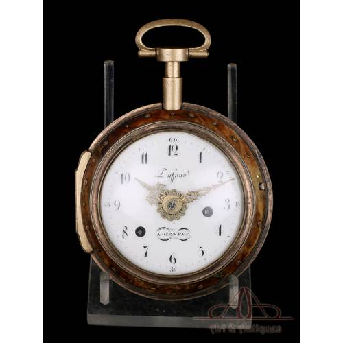 Antiguo Reloj de Carruaje Catalino con Alarma. Caja de Carey. Suiza, Circa 1780