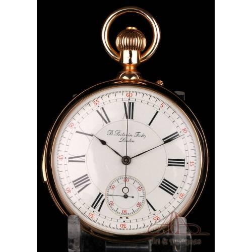 Antiguo Reloj de Oro 18K Poitevin. Sonería a Minutos y Cronómetro. Londres, Circa 1890