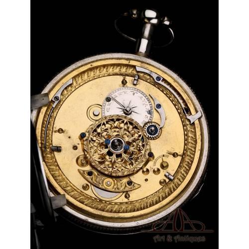 Antiguo Reloj de Bolsillo de Plata con Sonería de Cuartos. Francia, 1820