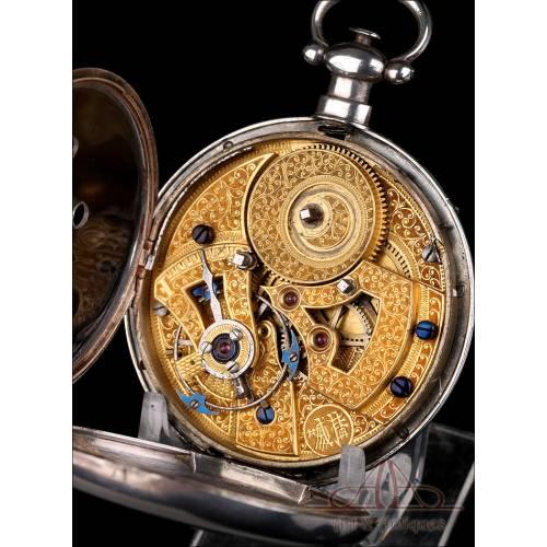 Antiguo Reloj de Bolsillo Chino para Capitán de Barco. Plata. Raro Escape Dúplex. Suiza, Circa 1870