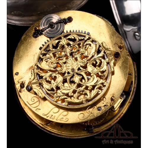 Muy Antiguo Reloj de Bolsillo Catalino Tipo Cebolleta. De Lisle. Francia, Circa 1680