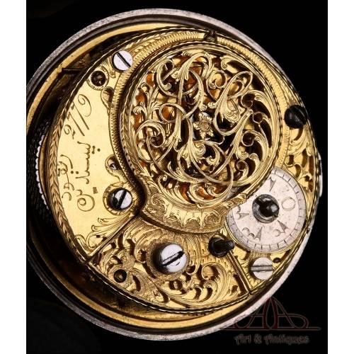 Antiguo Reloj de Bolsillo Catalino Otomano de Triple Caja. Plata. G. Prior, Londres, 1782