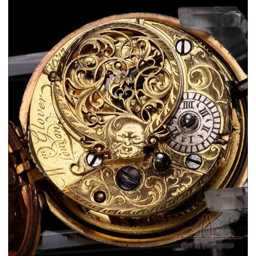 Antiguo Reloj de Bolsillo Catalino William Glover de Doble Caja. Londres, Circa 1750