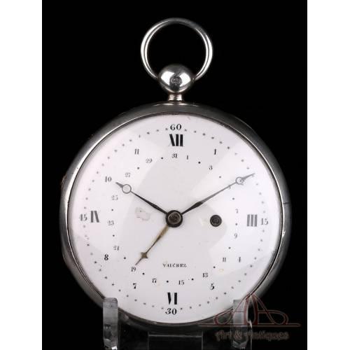 Antiguo Reloj de Bolsillo Vauchez de Plata Extraplano. Calendario. Francia, 1800-1810