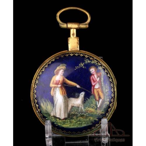 Antiguo Reloj de Bolsillo Catalino con Esmalte de Leton. Francia, Circa 1820