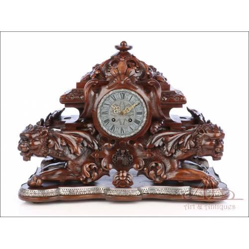 Excepcional Reloj de Sobremesa Bailly-Weibel Tallado. Pieza Única. Francia, Siglo XIX