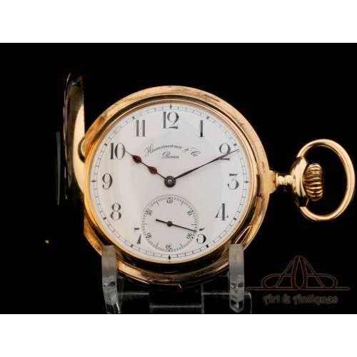 Antiguo Reloj de Bolsillo con Sonería de minutos. Oro 18K. Hausmann & Co. Circa 1905