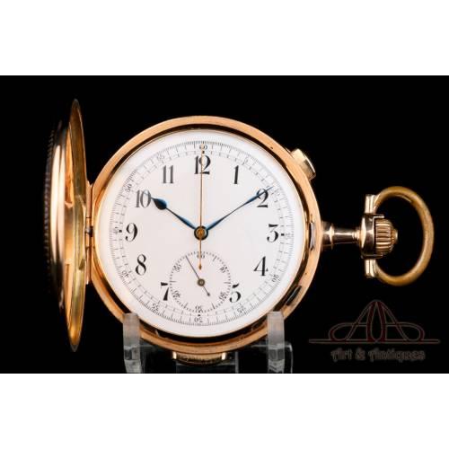 Antiguo Reloj de Bolsillo Esperantos. Sonería a Minutos. Crono. Oro de 14K. Suiza, 1900
