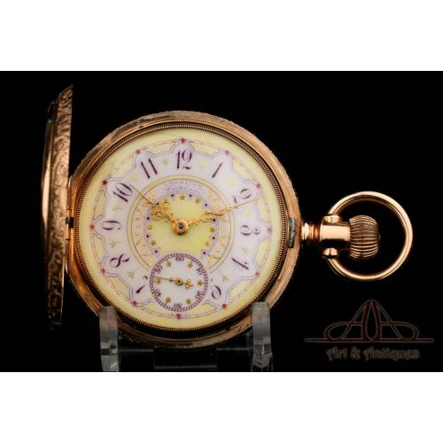 Antiguo Reloj Waltham Modelo 1888. Oro 14K. USA, 1889