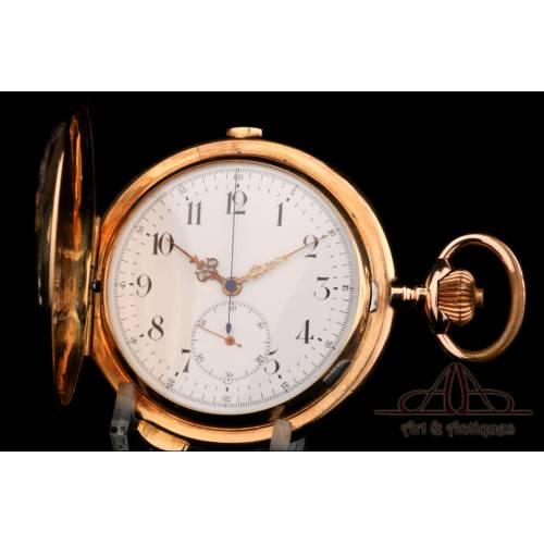 Antiguo Reloj con Sonería. Triple Tono y Crono. Oro 14K. 65 mm. Suiza, Circa 1900