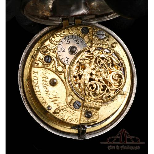Antiguo Reloj de Bolsillo Catalino Allen Walker de Plata . Inglaterra, Circa 1751