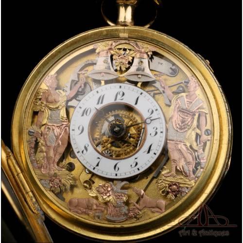 Antiguo Reloj de Bolsillo Catalino Esqueleto y Autómata. Francia, Circa 1820