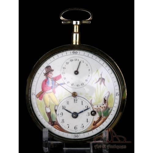 Antiguo Reloj de Bolsillo Catalino con Calendario y Segundero Central. Francia, 1820