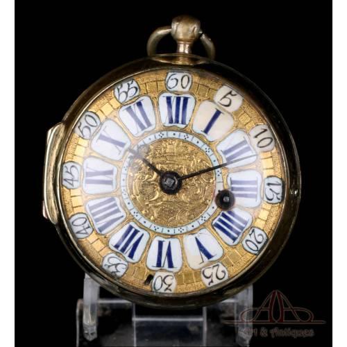 Antiguo Reloj de Bolsillo Catalino Cebolleta. St. Martin. Francia, 1700-1715