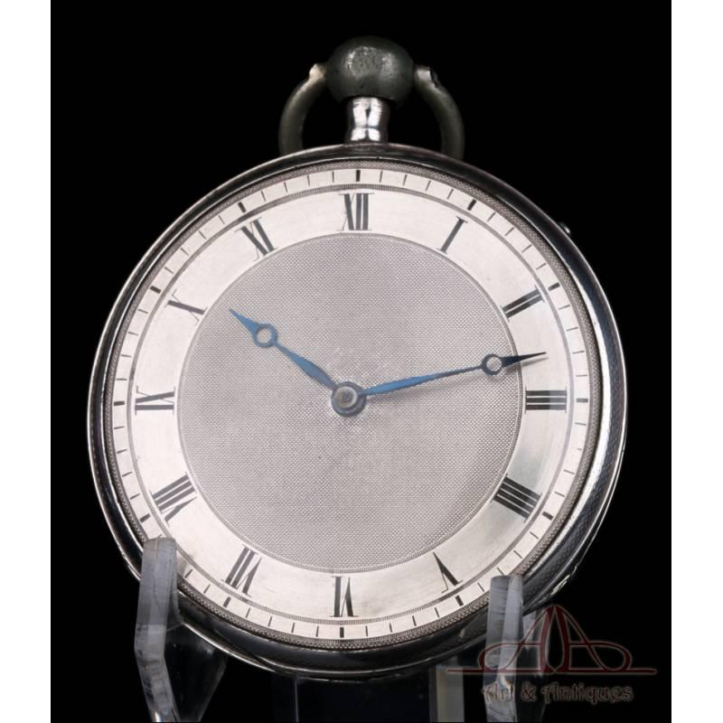 Antiguo Reloj de Bolsillo de Cilindro con Sonería. Plata. Francia, Circa 1820