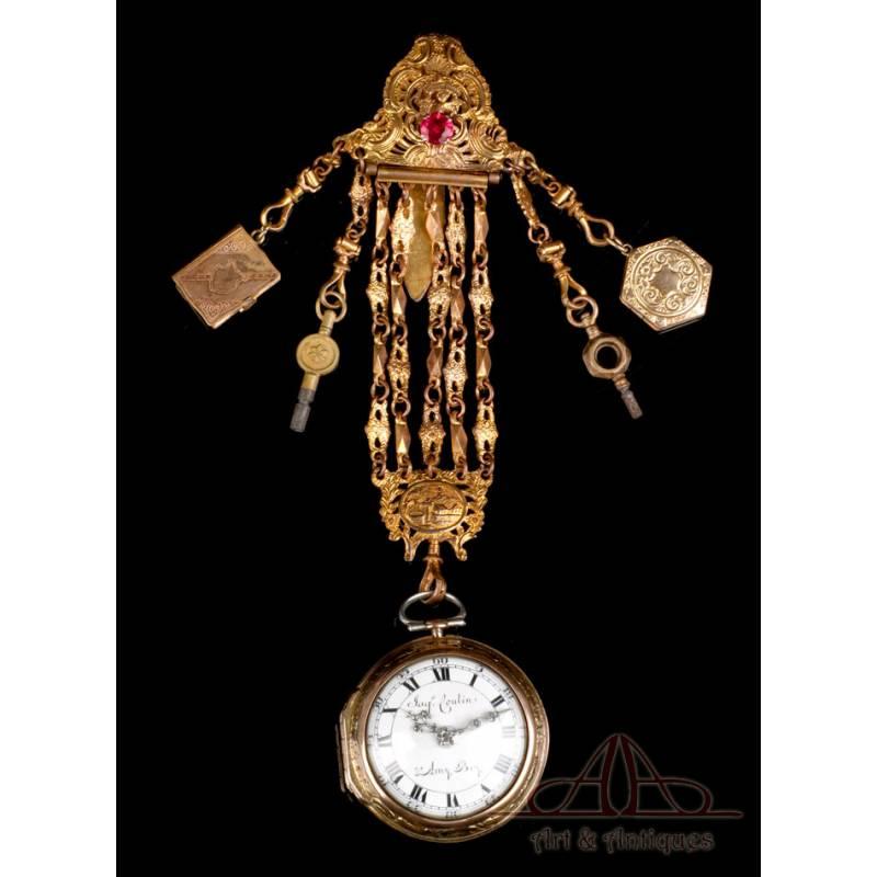 Antiguo Reloj de Bolsillo Catalino Suizo Jaques Coulin & Amy Bry. Circa 1785