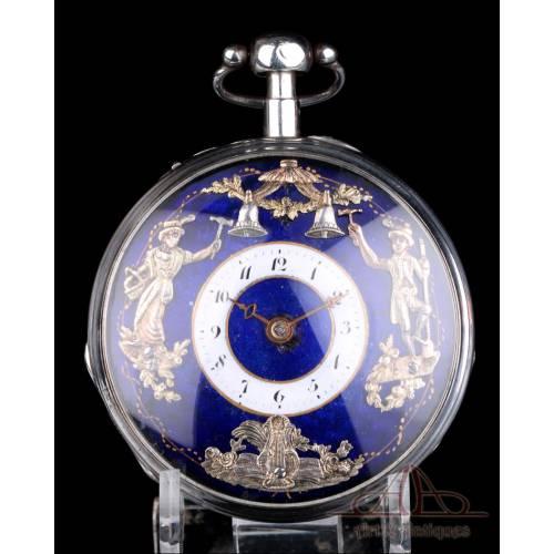 Antiguo Reloj de Bolsillo Autómata con Repetición de Cuartos. Francia, Alrededor de 1810