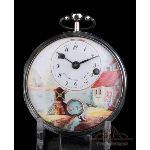 Antiguo Reloj de Bolsillo Catalino Autómata Girardier L'Aine. Plata. Suiza, Circa 1815