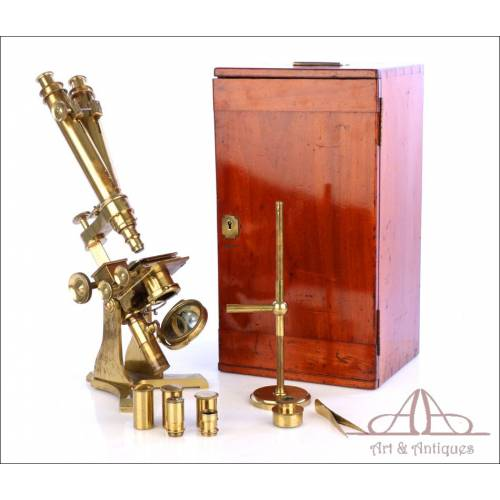 Gran Microscopio Binocular Antiguo Inglés. Inglaterra, Circa 1870