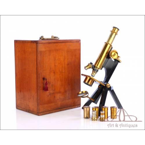 Fantástico Microscopio Antiguo  R&J Beck. Inglaterra, Circa 1890