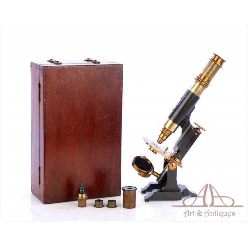 Microscopio Escocés Antiguo James Brown. Glasgow, Circa 1880