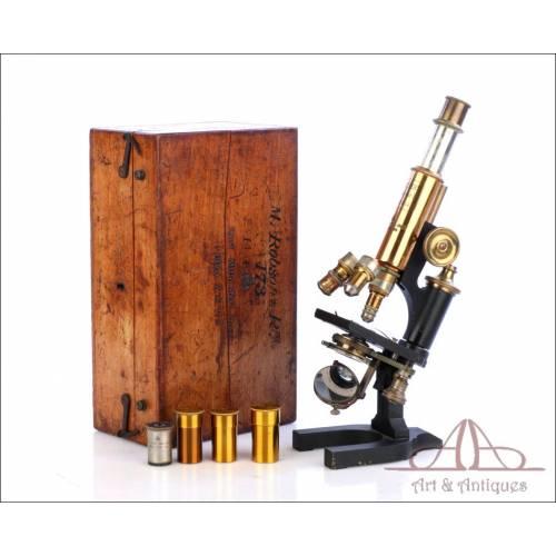 Antiguo Microscopio Reichert Stand III. Alemania, 1920