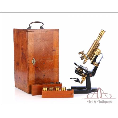 """Antiguo Microscopio Carl Zeiss """"Asa de Jarra"""". Alemania, Circa 1905"""