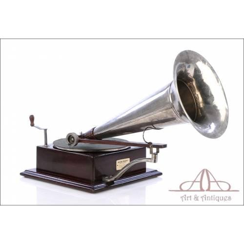 Antiguo y Mega Raro Gramófono Berliner 4. Francia, 1902-1905