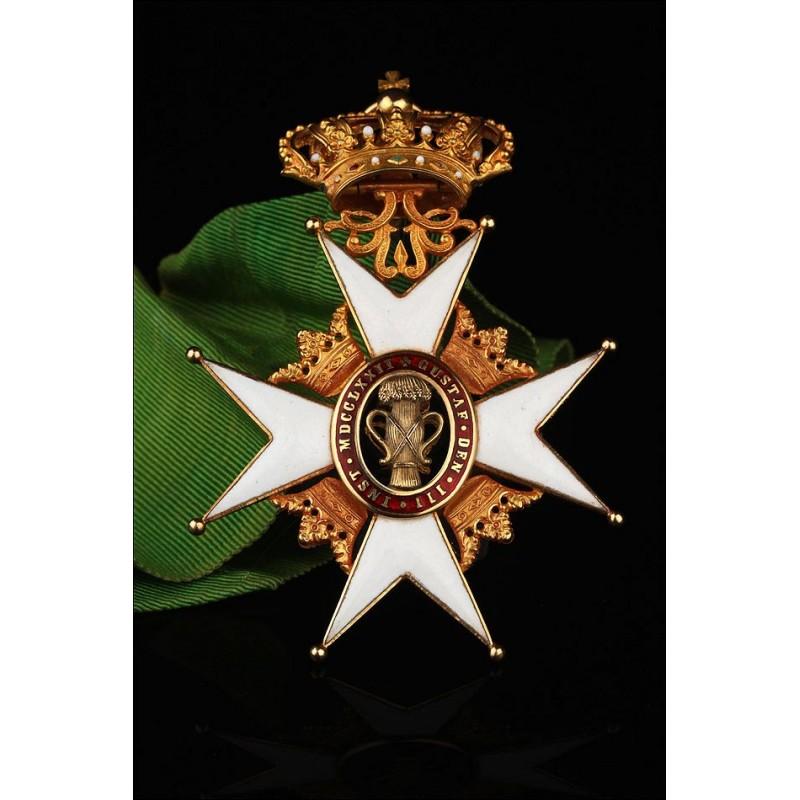 Orden Real de Vasa en Oro Macizo de 18K, Categoría Comendador. Suecia, Circa 1900