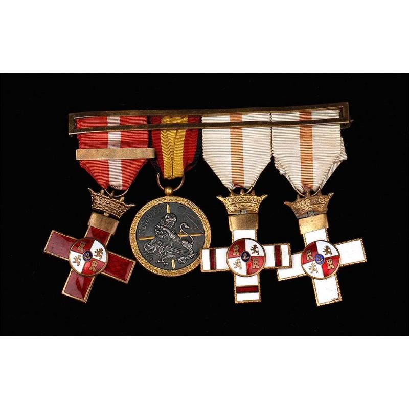 Pasador de Medallas Español en Excelente Estado de Conservación. Siglo XX